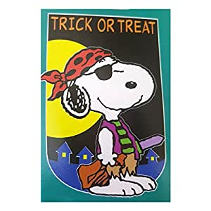 "Peanuts Pirate Trick Or Treat Snoopy Decorative House Flag Indoor/Outdoor 28"" x 44"""