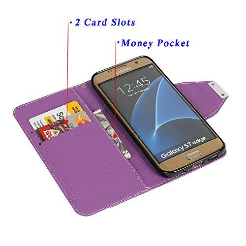 Funda Samsung Galaxy S7 Edge, MTRONX Cover Case Carcasa Caso Magnético Folio Flip Delgado Caso PU Cuero Suave TPU Parachoque para Samsung Galaxy S7 Edge - Púrpura(CM-PP) Púrpura