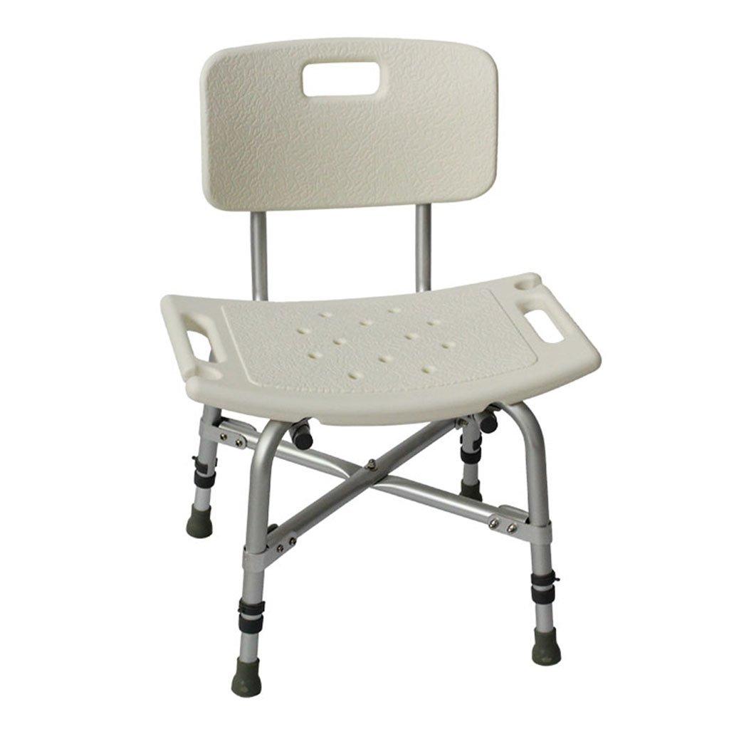背もたれのある白いアルミ製のトイレシャワーの椅子 B07DFMFZ38