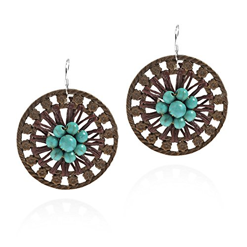 Antique Round Flower Brass Simulated Turquoise Sterling Silver Earrings ()