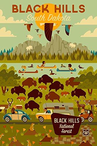 Black Hills, South Dakota - Geometric (12x18 Art Print, Wall Decor Travel Poster)