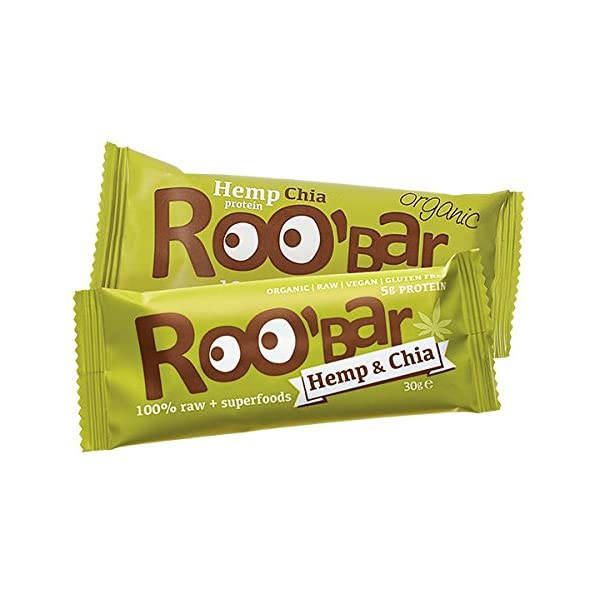 ROO'BAR Hemp Protein & Chia – 16 bars (16x 50g) – Raw Superfood Bar (organic, vegan, glutenfree, raw)