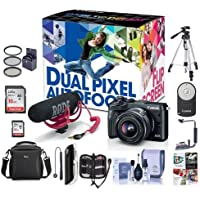 Canon EOS M6 Mirrorless Camera Video Creator Kit w/ EF-M 15-45mm Lens, Rode Mic, 32GB SD Card, Black - Bundle with Camera Bag, 16GB SDHC Card, Tripod, Memory wallet, 49mm Filter Kit, Software and More