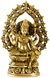 Goddess Lakshmi with Aureole of Purna-Ghatas - Brass Statue