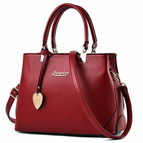 - Women Handbags Fashion Handbags for Women PU Leather Shoulder Bags Designer Tote Bags (Wine red)