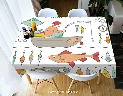 Square tablecloth Fishing Gear Fisherman in the Boat Catching Fish Rod Bobber Tackle Hook Clip Work (55 X 72 inch) Great for Buffet Table, Parties, Holiday Dinner, Wedding & More.Desktop decoration.P