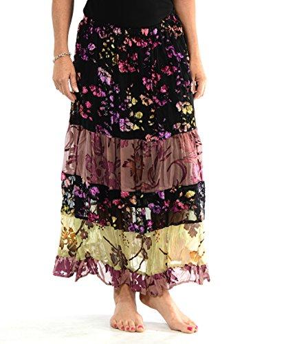 Captivating Velvet Burnout Floral Boho Skirt by (Medium) (Rayon Velvet Skirt)