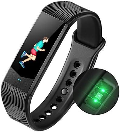 Fitness Tracker Arm duhr, Blautdruck- und Herzfrequenzmesser, Smart-Arm d, 3D, Ui, Sportuhr, wasserdicht, Schrittzähler, Anrufe, SMS, SNS Erinnerung, für Android und iOS, Schwarz