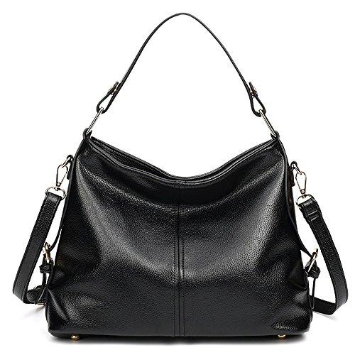Bolsos de cuero grandes de las mujeres bolsos de Crossbody de las señoras grandes para las mujeres Bolso de hombro grande, negro Black