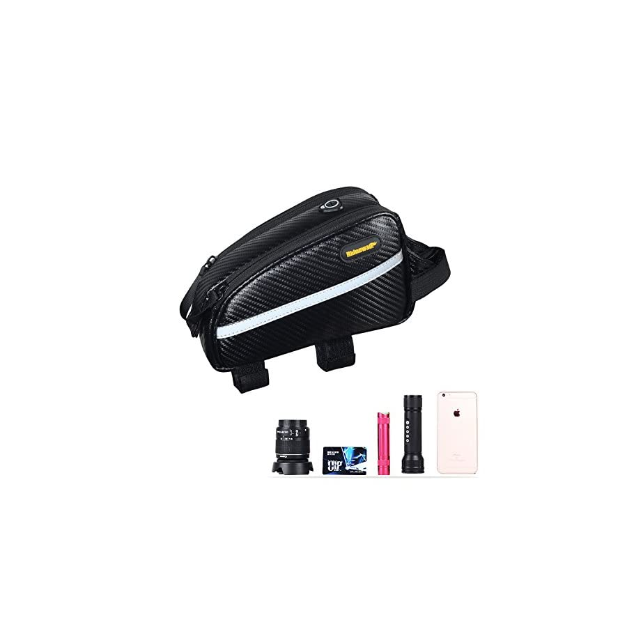 Sodee Bike Bag Top Tube Bag Front Tube Frame Bag Double Zipper Design Water Resistance Bicycle Bag Professional Cycling Accessories (Black)