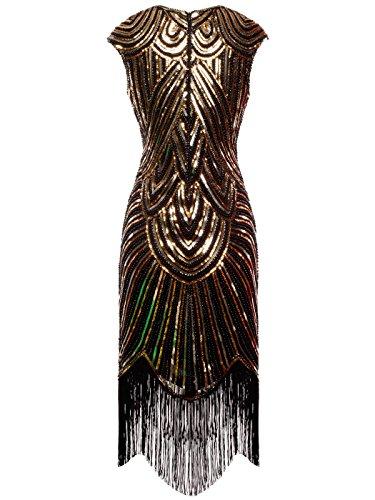 D20s002 Oro con 1920s paillettes Nero Impreziosita Vestito Tassel Coppia Hem Fata pqzx8UTq