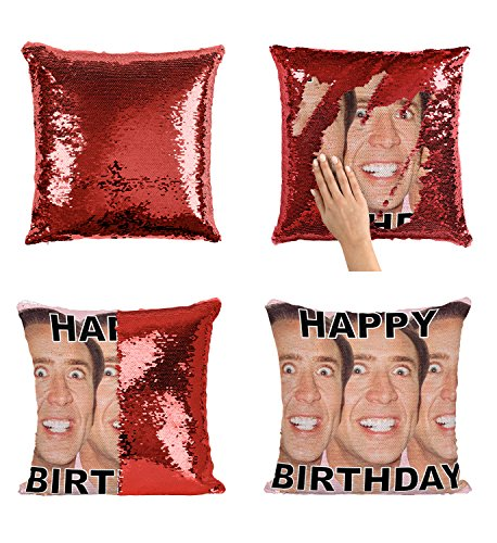 Happy Birthday Nicolas Cage Faces Actor P27 Sequin pillow, Sequin Pillowcase, Two color pillow, Fift for her, Gift for him, Magic Pillow, Mermaid Pillow, Scales Pillow Cover