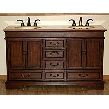 Silkroad Exclusive Travertine Stone Double Sink Bathroom Vanity With  Furniture Bath Cabinet, 60 Inch