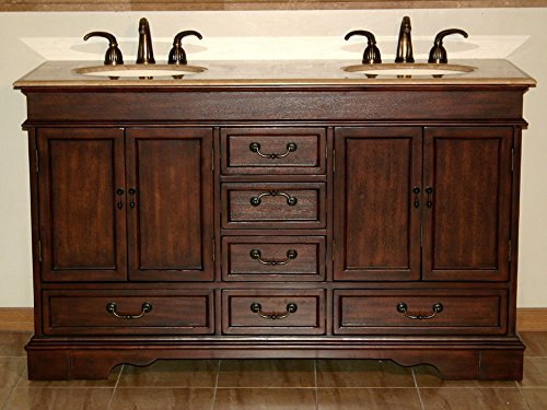 - Silkroad Exclusive Travertine Stone Double Sink Bathroom Vanity with Furniture Bath Cabinet, 60-Inch