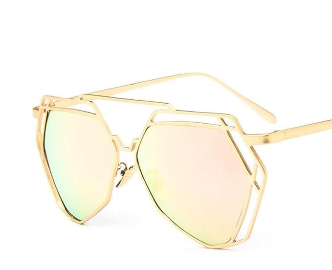 XYLUCKY Lunettes de soleil rétro en forme de V en polygone en métal Rue Fashion Hollow Bright Frame Femmes Sunglasse , d