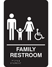 "Accuform Signs PAD122BK Plastic ADA Braille Tactile Sign, Legend""Family Restroom"" with Wheelchair/Handicapped Accessible Graphic, 9"" Length x 6"" Width x 1/8"" Thickness, White on Black"