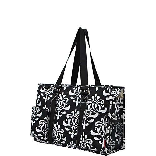 Price comparison product image Shabby Damask Print Zippered Caddy Organizer Tote Bag