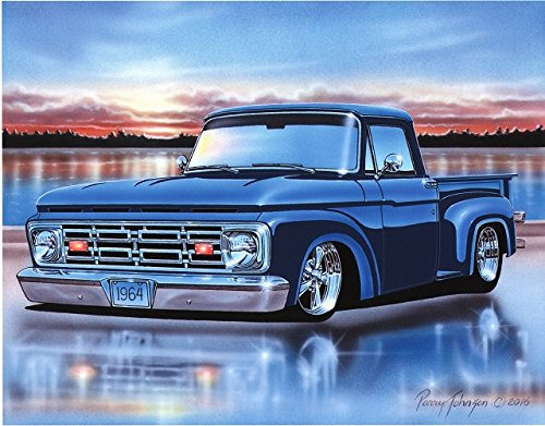 1964 Ford F100 Flareside Pickup Classic Truck Art Print Blue 11x14 Poster ()
