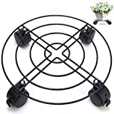 Flower Pot Rack on Rollers Dolly Holder on Wheels office and home Planter Trolley Casters Rolling Tray Coaster Black, Round