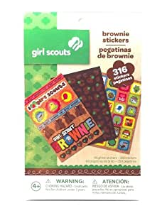 Girl Scouts Brownie Activity Stickers 316 Total 66 Glitter and 250 Regular Stickers Great for Scrapbook or Making Memories (1 Pad)