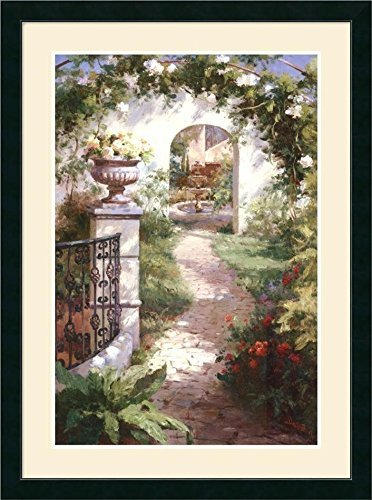 Buyartforless Framed Flowered Archway by Haibin 39x28 Art Print Poster Wide Black Frame Double Matted