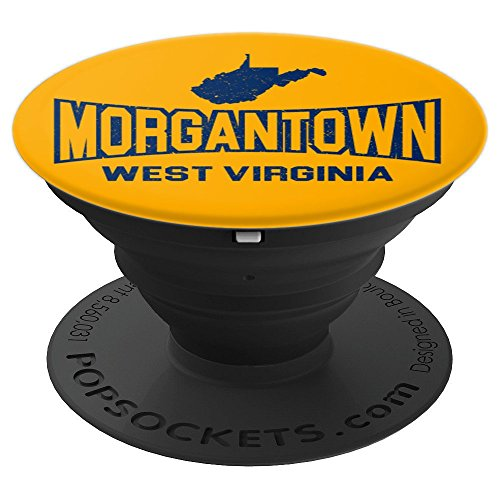 Morgantown, West Virginia Yellow and Blue State Map - PopSockets Grip and Stand for Phones and Tablets