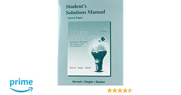 student s solutions manual for college mathematics for business rh amazon com