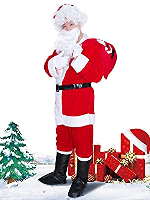 ZARARA Christmas Santa Claus Costumes Velvet Men's Deluxe Santa Suit 9pc (XL, Red) …