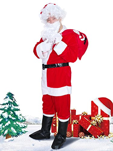 ZARARA Christmas Santa Claus Costumes Velvet Men's Deluxe Santa Suit 9pc (XL, Red) … (XXL, Red) (Deluxe Suits Santa)