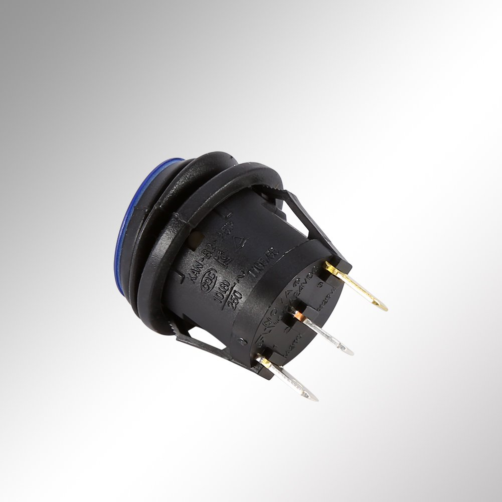 12V Car Rocker Toggle Switch 3 Pin 19mm Round Blue LED Light SPST Switch On-off Control Switch