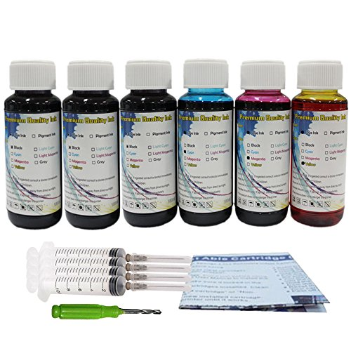 HOTCOLOR 6 x 100ml Premium Dye Ink Cartridge Refill Inkjet For PG-210 XL CL-211 XL PG-210XL CL-211XL Ink Cartridge Pixma MG3520 MP240 250 270 280 (System Ink Jet Cp)
