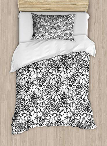 VROSELV-HOME Floral Vintage Duvet Cover Set Twin Size,Digitally Generated Monochrome Flowers On Plain Background,Bedding Set for Teen 2Pcs,Charcoal Grey and White