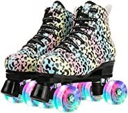 Multi-Colored Leopard Print Roller Skates for Women Classic High Top Roller Skating PU Leather Outdoor Skates