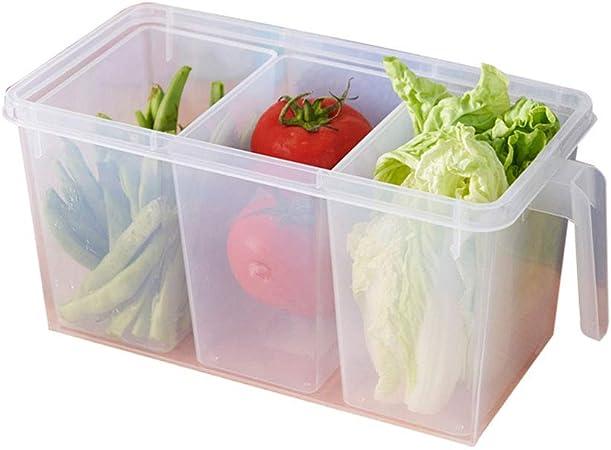 WWJHH-Food storage box Caja De Almacenamiento De Cocina Contenedor De Almacenamiento De Alimentos-DiseñO De Tres Rejillas- PláStico Transparente- con Asa-Caja Sellada para Alimentos: Amazon.es: Hogar