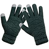 LETHMIK Winter Touchscreen Knit Gloves Mens Thick Texting Gloves with Warm Wool Lining Green