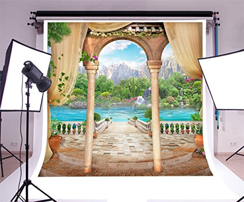 Laeacco Vinyl 8x8ft Photography Background Old Stone Arch View Lake and Mountains Terrace Ladder Green Scenery Garden Fairytale Wedding Party Backdrops Portraits Shooting Video Studio Props - Terrace Arch
