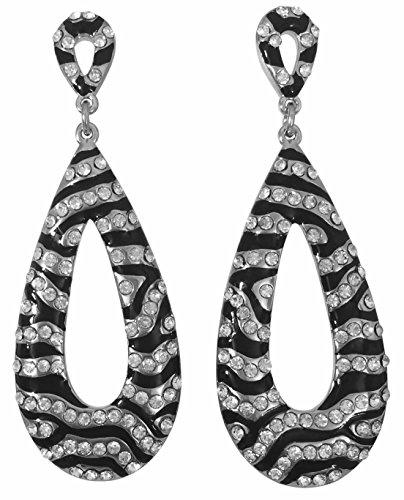Long Drop Dangle with Rhinestones Fancy Formal Prom Earrings (Zebra stripe) from Gypsy Jewels