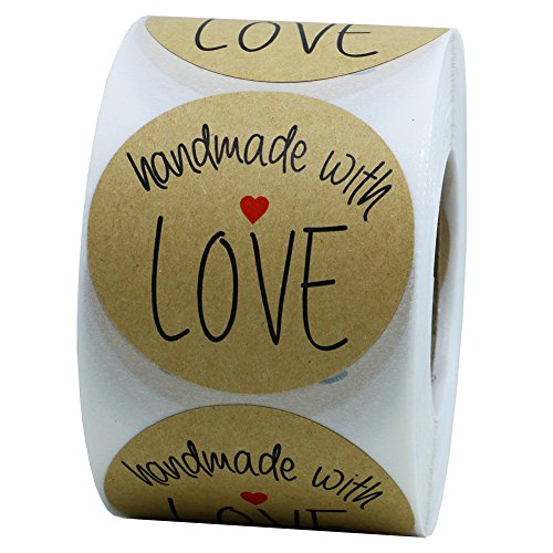 Hybsk Kraft Handmade with Love Stickers with Black Font Total 2