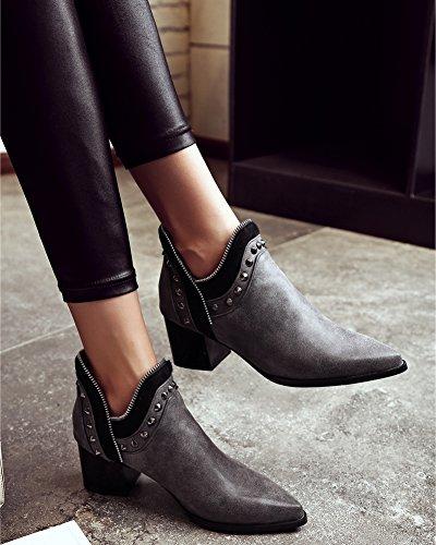 Minetom Damen Herbst Winter Nieten Stiefel Winterstiefel Stiefeletten Warm Schuhe mit Hohen Absätzen Chelsea Boots Grau