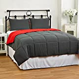 Cozy Beddings Reversible Down Alternative 3 Piece Comforter Set, King/Cal King, Grey/Red