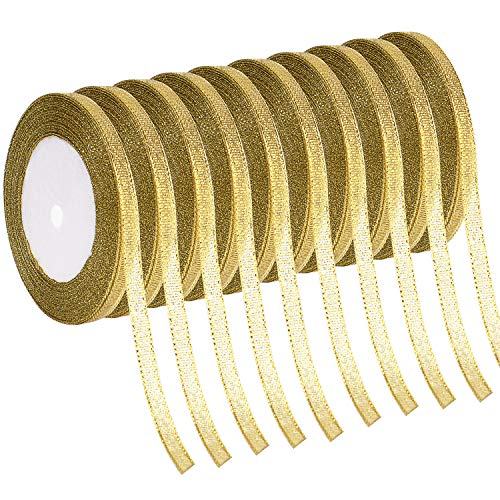 - Livder 10 Rolls 1/4 Inch Width Metallic Glitter Ribbons for Holiday Wedding Birthday Party Decoration Gift Wrapping (Golden)