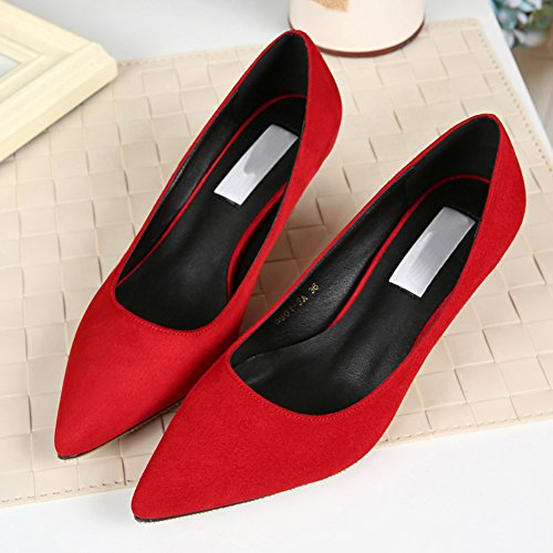 Womens Faux Velvet / Glitter Elegant Mouth Slip On Pointed Toe Stiletto Heel Pump Shoes Red Velvet Size: EU Size 38 - US B(M) 7.5 7t4hKM9