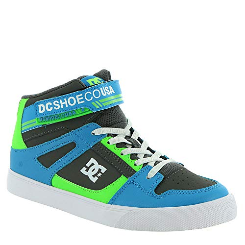 DC Boys' Pure HIGH-TOP EV Sneaker Grey/Green/Blue 12 M M US Little Kid (Boys High Top Shoes Dc)