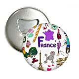 France Landscap Animals National Flag Round Bottle Opener Refrigerator Magnet Pins Badge Button Gift 3pcs