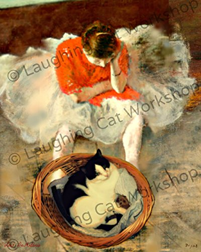 Whimsical Wall Art, Cat photobomb Vintage art, Bathroom print, bedroom wall decor, cat lovers gift, Degas Wall Art, Ballet Dancer art, French impressionist wall decor, Cats and Artists Print