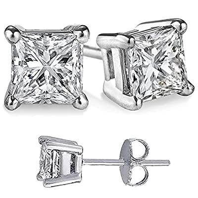 Large CZ Square Princess Solid Silver Stud Earrings For Men or Women, Choose from 10 CZ weights