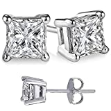 Silver Stud Earrings White Princess Square Cubic Zirconia Stones Choose from 1 to 10 Carat Total Weight