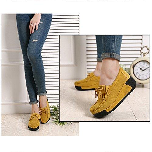 Bottes Femmes Plateforme Casuel Retro Eagsouni Chaussures Loafers Mocassins Plate Compensée Jaune Creepers 1qq4zCw