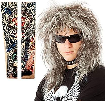 Glam Hairband Rockstar Mullet Wig Tattoos Costume Set 70s 80/'s Mens Rocker Wig Tattoo Sleeves Heavy Metal Wigs Brown