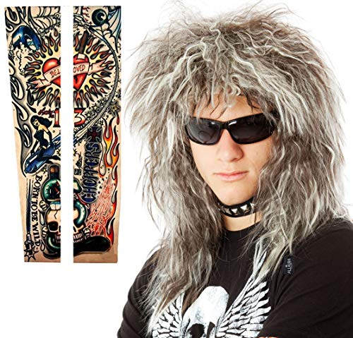 70s 80's Mens Rocker Wig + Tattoos Costume Set. Glam Hairband Rockstar Mullet Wig + Tattoo Sleeves Heavy Metal Wigs Brown